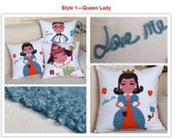 Wholesale Queen Lady Love Series Decorative Embroidery Cotton linen Sofa Couch Chair Cushion Pillow Cover Pillow Case