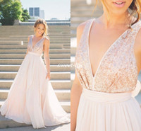 autumn rose wedding - Modern Sheer Wedding Dresses Rose Gold Sequins Blush Pink Tulle Backless A Line V Neck Sash Bow Sexy Beach Summer Bridal Wedding Gowns