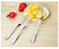 Wholesale 50piece box Cake difference Fork fruit Fruit fork Refinement Fork fruit Dessert fork Stainless steel Steel fork