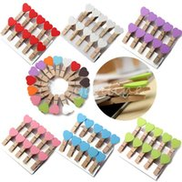 Wholesale 16pcs Mini Heart Wooden Pegs Photo Clips Note Memo Holder Card Craft Party Favor