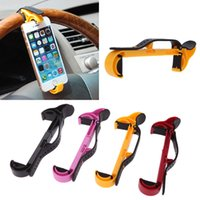 4 wheel - Universal Mobile Phone Holder Car Steering Wheel Holder Clip Car Mount for iPhone Smartphone GPS Colors PA1940