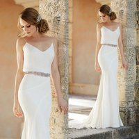beautiful beach holidays - Summer Holiday Beach Wedding Dresses Sample And Beautiful Ivory Chiffon Spaghetti Hollow Back Mermaid Wedding Gown