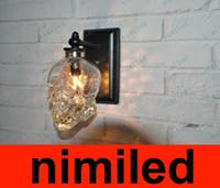 Wholesale nimi602 Loft Personality Industrial Iron Glass Retro Bar Outdoor Wall Lamp Skull Wall Sconce Lights Hotel KTV Bedroom Living Room Lighting