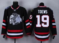 Wholesale New Hot Blackhawks Jonathan Toews Jersey Black Hockey Jersey LH Ice Hockey Uniforms with White Skull on Front Embroidered Name Number