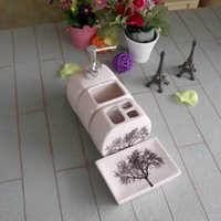 Wholesale tree pattern fashion Home wash Toiletries American modern Ceramic Sanitary Ware bathroom set four pieces wedding Gift