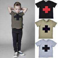Wholesale Newest boys NUNUNU cross printed T shirts T kids summer short sleeve clothes girls t shirts children clothing