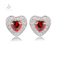 Stud sterling silver earrings - Trendy S Classic CZ Red Cubic Zirconia Beautiful S sterling Silver Earrings