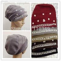 Wholesale muslim pearls caps underscarf islamic hats by DHL mix colors ML0120