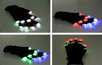 Wholesale LED Gloves Fashing Gloves LED Light Up Rave Glove Glow Light Glow Finger Gloves party