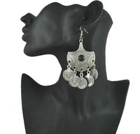 big ethnic earrings - Tribal Statement Coin Earrings Ethnic Jewelry Vintage Silver Big Black Beads Drop Earrings Gypsy Coin Earring