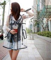 Wholesale Transparent Raincoat EVA Runway Women Girls Men Clear Rain Coat Fashion Outdoor Travel Waterproof Rain Coat