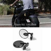 Wholesale MOTORCYCLE BLACK quot ROUND quot HANDLE BAR END MIRRORS CAFE RACER BOBBER CLUBMAN order lt no track
