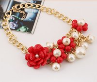 red heart candy - Hot Fashion mix order Europe Fashion candy color flowers multilayer pearl bead necklace for women jewelry min order