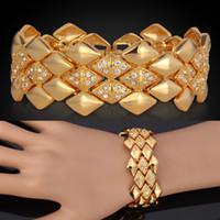 achat en gros de bracelets plaqué or jaune-Bracelets Hommes Big 18K Or jaune plaqué or strass autrichien Mode Bijoux Bracelet cadeau pour les femmes en gros YH5142
