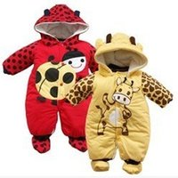 Wholesale 2014 New Arrivals Toddler newborn Winter thick cotton baby Rompers Ladybug and cows boys and girls jumpsuit Warm baby clothing