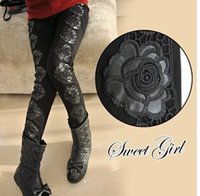 Cheap New Kids Girl Winter Thicken Warm Spliced Pant Legging Children Clothing Thicken Black Legging Girl Casual Lace Pant X9128