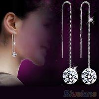Wholesale Women s Zircon Topaz Drop Chain Earrings OZ4