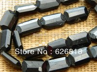 Cheap Wholesale-Free shipping natural 15-17*20-22mm black tourmaline faceted rectangle spacers different size stone beads