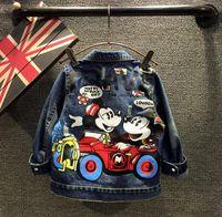 wholesale blue jeans - 2015 Mickey Mouse Applique Girls Leisure Broken Hole Denim Jeans Jacket Autumn Children Kids Jackets Coat Outwear Cloth Blue K4686