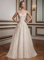 alexander pink - 2016 New Justin Alexander V Neck A line Wedding Dresses Plus Size Beaded Crystals Button Back Appliques Bridal Gowns Chapel Train BA0495