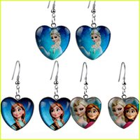 Wholesale Cartoon Earrings Anna Elsa Princess Heart glass earring Fashion children jewelry earrings chandelier