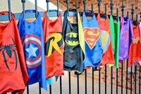 halloween spider - 45 colors High Quality Superhero Kids Capes Superman Batman Spider man Transformer Cat Women Kids Cartoon Capes Halloween Children Capes