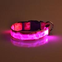 Wholesale 10pcs Fedex mix order CM wideth Size Camouflage pattern LED dog collars LED pet Flashing safety collars Nylon Leashes