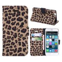 Cheap LEOPARD Print Card Holder Kickstand Flip Slim Fit Fashion Wallet Phone Case For Iphone 4 4s 5 5c 5s 6 6s Plus