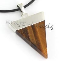 Wholesale Fashion Charm Silver Plate Tiger s eye triangle shape chakra healing pendant Gift