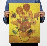 american impressionist paintings - Superman sunflower apricot flowers After van gogh impressionist paintings Kraft paper posters adornment frameless vintage poster