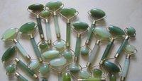 green jade stone - Green jade massage head neck face foot roller stone massager tool