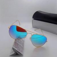 Wholesale hIGH quality Gradient Glass lens Fashion Sunglasses For Men and Women UV400 Brand Designer Vintage Sport Sun glasses With box