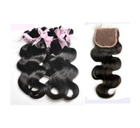 Wholesale Cheap Hair Brazilian Virgin Hair Human Hair Weave Wavy Body Wave Hair Bundles With Lace Closure Natural Color Brown Hair Extensions