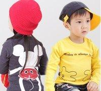 long sleeve yellow t-shirts - Cartoon Mickey Mouse Spring Boys Girls Round Collar Long Sleeve T Shirts Tshirts Cotton Child Tees Kids Clothing Tops Yellow Gray K3094