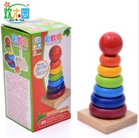 baby stacking toys - Funny Wooden toy Colorful educational Conical Stacking Tower rainbow tower Puzzle Creative Stacker Matching game Enlightenment baby kids toy