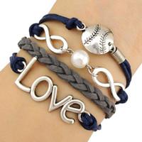 al por mayor pulsera unisex infinito-Infinity deseo de amor de béisbol de beisbol deportivo bola colgante de perlas encanto abrigo pulseras de cuero de cera unisex mujeres de moda de Navidad de diseño personalizado
