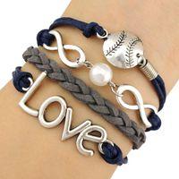 baseball chains - Infinity Wish Love Baseball Softball Sports Pendant Ball Pearl Charm Wrap Bracelets Leather Wax Unisex Women Fashion Christmas Custom Design