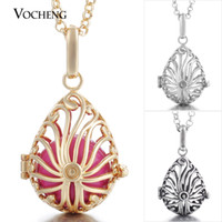 ball chain brass plate - VOCHENG Chime Harmony Vintage Water Drop Pendant Angel Ball Cage Necklace with Stainless Steel Chain VA