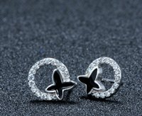 Wholesale New Sterling Silver White Rhinestone Exquisite Black Butterfly Shape Hypoallergenic Stud Earrings Ladies Charms