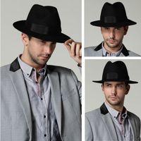 Wholesale FG1509 Fashion Unisex Headwear Men Women Winter Wool Fedora Hat Trilby Crown Cap Wide Brim Bowler Derby Floppy Bucket Hat