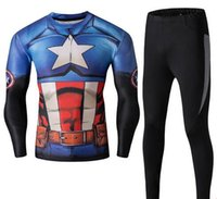 Wholesale Spiderman Cycling Tops - 2016 Top Mens Superhero cycling jerseys Spiderman Ironman Long Sleeve Cycling Jersey sets (tops+pants) Slim Fit Sport Workout Excerise sets