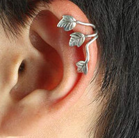 Wholesale 2 colors styles European And American Fashion Punk Style silver and gold charm Leaves Earring Ear Clips Ear Bones Clip For Men and Wome