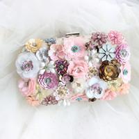 Wholesale Crystal Flower Clutch Purse - Flower Luxury Vintage Bridal Clutches Crystal Diamond Ring Evening Clutch Bag Purses Women Wedding Party Prom Bridal HandBags 3D Pearl zyy