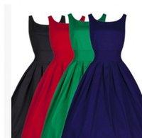 Wholesale 2015 Summer Women Hepburn Dresses O neck Black Retro Casual Party Robe Rockabilly Vintage Plus Size Dresses OXLT1751