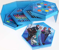 Wholesale 2015 New hot sale Frozen Stationery gift sets of watercolors color combination suit students graffiti stationary papeleria store pencil
