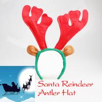 antler headband - Fashion Santa Reindeer Antler Hat Deer Horn Christmas Headband Cap New Gift Xmas New