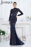 bead elastic - 2016 New Janique Mermaid Evening Dresses Illusion High Neck Navy Blue Lace Appliqued Crystal Beads Long Sleeves Sweep Train Party Prom Gowns