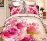 Cheap Big Promotion Hotsale Wholesale 3d cotton Bedding 4pcs Comforter Set pink roses girls Unique Bedding Queen bed clothes bed linen