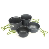 Wholesale Portable Outdoor Cooking Set People Anodised Aluminum Non stick Pot Bowl Outdoor Cookware Camping Picnic Hiking Utensils
