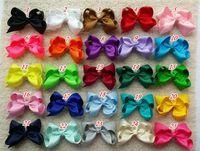 Wholesale 4 inch hair bow Girl hair bow Toddler hair bows Baby hair bows Grosgrain ribbon hairbow Double Alligator clip
